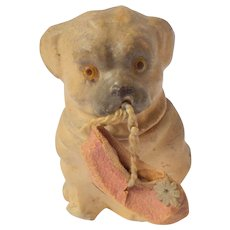 Tiny Candy Container Puppy Carrying Shoe c1920