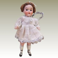 *Reserved For D* All Bisque Fairy Doll Wrestler Body In Boots c1915