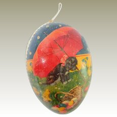Cute Puppy & Chicks Egg Candy Container c1930