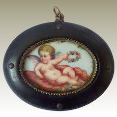 Miniature Hand Painted Cherub Plaque c1900