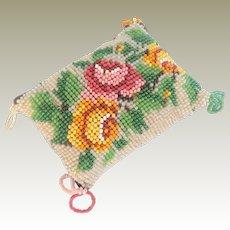 Miniature Beadwork Roses Cushion c1880