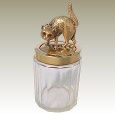 Jewel Eyed Cat Vanity Jar c1915