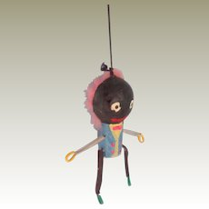 Tiny Golly Puppet Pink Fur Hair c1930