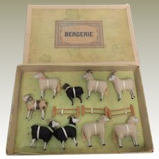 Boxed Set Putz Sheep & Fences c1900