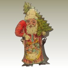 Red Lithographed Father Christmas Candle Clip For Christmas Tree c1910