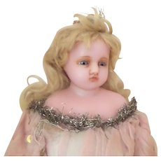 *reserved* Pierotti Poured Wax Fairy Doll Original Pink Clothing Tinsel & Sequins c1900