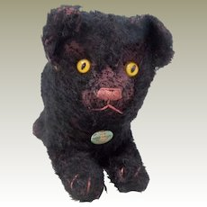 Early Chad Valley Black Cat With Harborne Button c1920