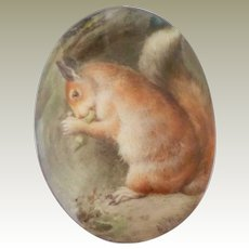 Antique Hand Painted Squirrel Plaque Minton c1880