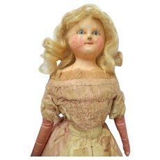 Early Slit Head Wax Doll All Original Clothing c1850