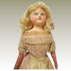 Early Slit Head Wax Doll All Original Clothing c1850