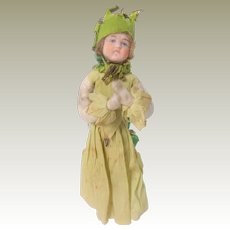 Bisque Head Spun Cotton Christmas Doll In Crepe Clothing c1910