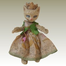 Unusual Composition Headed Queen Cat Doll