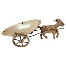 Palais Royal Gilt & Mother Of Pearl Goat Cart Pin Dish c1860