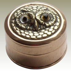 Tiny Box With Glass Eyed Owl Lid c1915