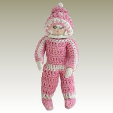 Small Wired Crochet Dressed Doll