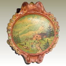 Lithographed Scenic Candle Clip For Christmas Tree c1910