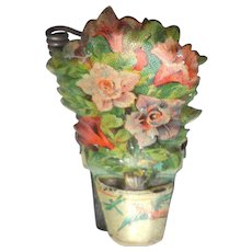 Lithographed Flower Candle Clip For Christmas Tree c1910