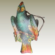 Lithographed Blue Parrot Candle Clip For Christmas Tree c1910