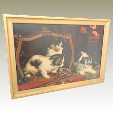 Antique Oil Painting Mischievous Kittens 1911