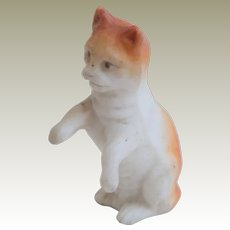 Ginger & White Bisque Cat For Dolls House c1915