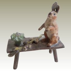 Antique Cold Painted Bronze Rabbit On Bench c1915