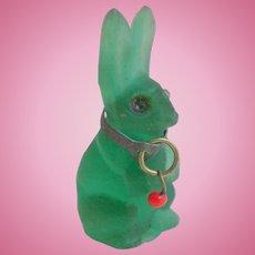 Czech Glass Rabbit With Sparkling Eyes Cracker Charm c1915