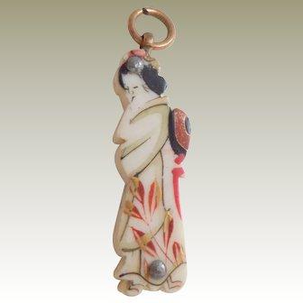 Hand Painted Oriental Miniature Carved Bone Box c1915