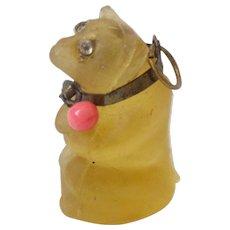 Yellow  Czech Glass Bear Sparkling Eyes c1915