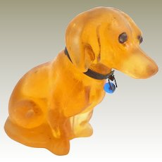 Large Orange Glass Czech Dachshund With Sparkling Eyes c1915