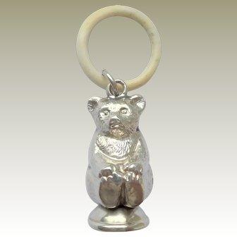 Small Antique Teddy Bear Rattle Hallmarked 1909