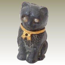 Black & White Czech Glass Cat c1915