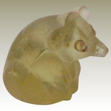 Yellow Czech Glass Pig Sparkling Eyes c1915