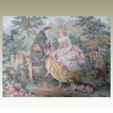 Antique French Petit Point Embroidered Tray