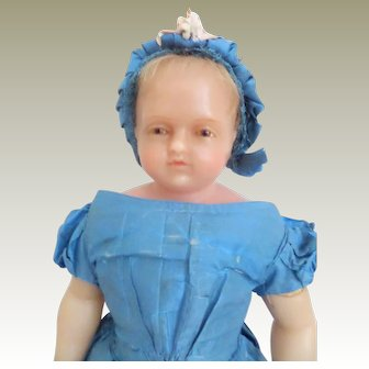 Signed Pierotti Brown Eyed Wax Doll c1860