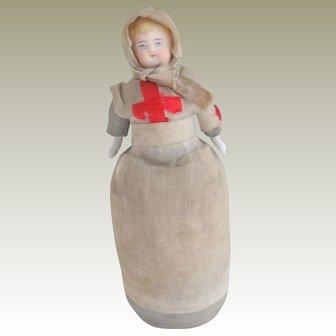 Red Cross Parian Pin Doll c1900