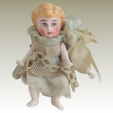 German All Bisque Baby Doll For Dolls House c1910