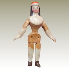 Rare Wooden Doll In Hat c1850