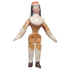 Rare Wooden Grodnertal Doll In Hat c1850