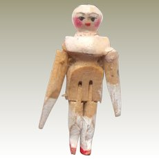 Tiny Old Wooden Peg Doll