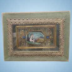 Miniature Silk Covered Sewing Box c1860