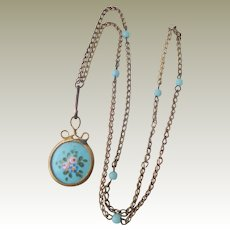 Antique French Doll's Enamel Watch On Chain