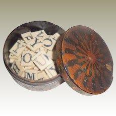 Antique Bone Alphabet Tiles Double Sided In Box 19th Century