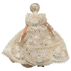 Antique Grodnertal Wooden Doll In Lace Dress c1860