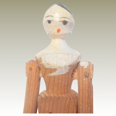 Small Old Wooden Peg Doll c1900