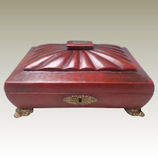 Fine Regency Red Leather Covered Work Box Provenance c1820