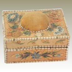 Small Native American Embroidered Birch Bark/Moose Hair Pin Cushion Sewing Box 19th C