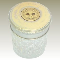 Glass Eyed Cat Lid Glass Vanity Jar c1910
