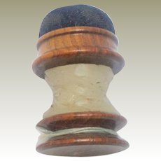 Rosewood Pin Cushion Waxer Spool c1860