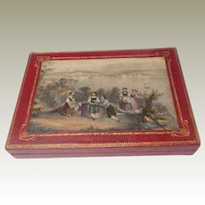 Red Leather Box With Printed Inset Panel c1860