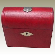 Red Leather Stationery Box With Armorial Plaque c1880
